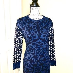 Gypsy 05 Dresses - Holiday Snowflake Sweater Dress Blue, Navy, Gray